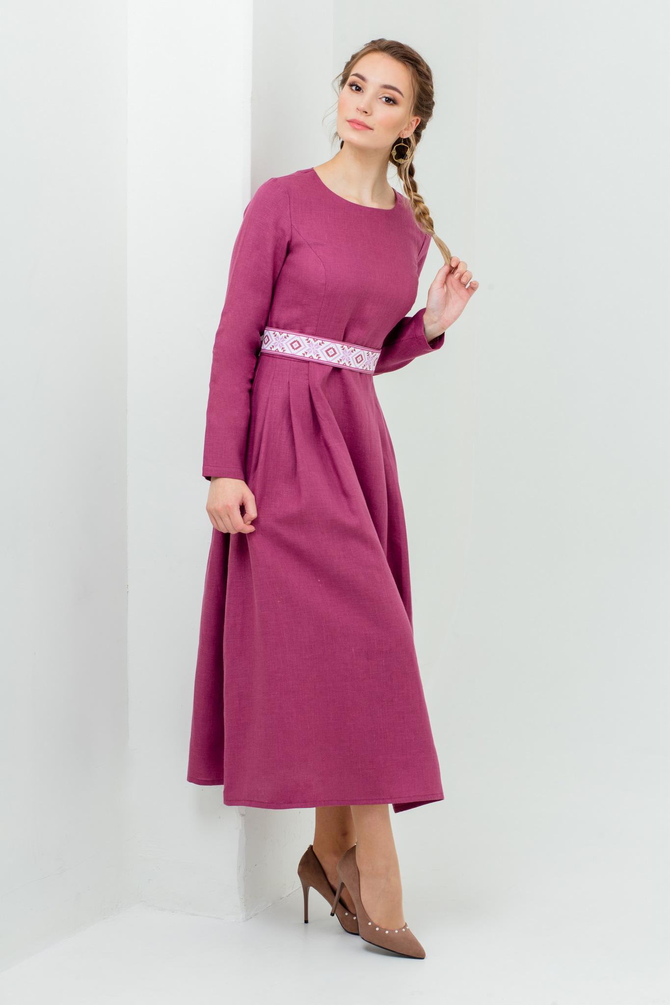 Платье на свидание Ежевика из белорусского льна