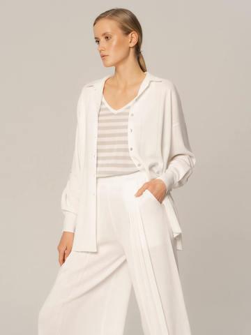 Женские брюки белого цвета из вискозы - фото 4