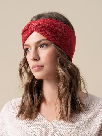 Женская повязка на голову красного цвета из кашемира - фото 3
