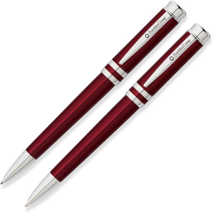 Набор подарочный FranklinCovey Freemont - Red Chrome, шариковая ручка + карандаш, M