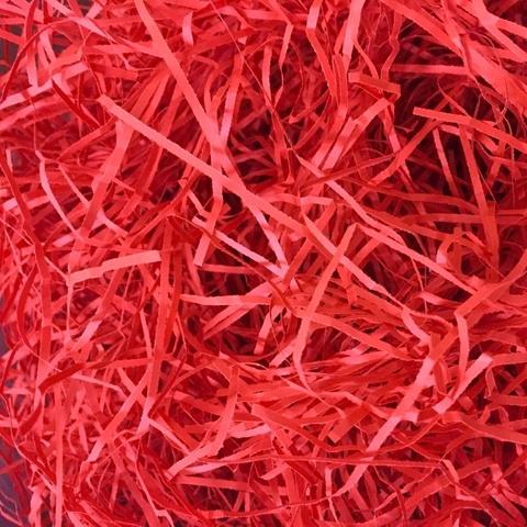 Бумажная стружка 2мм. Цвет: красный. 25г