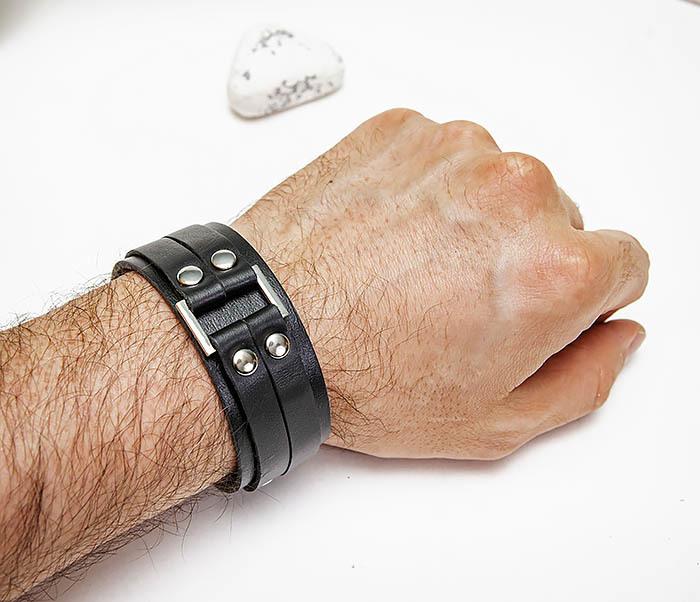 BL798-1 Мужской браслет напульсник из черной кожи фото 07