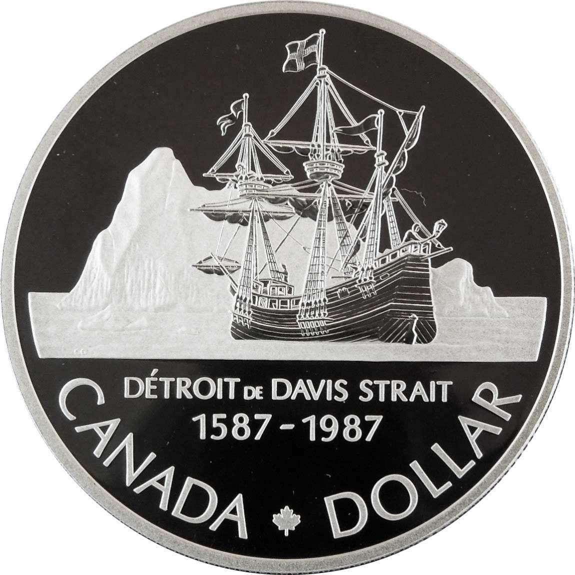 1 доллар. 400 лет открытию пролива Дейвиса. Канада. Серебро. 1987 год. Proof