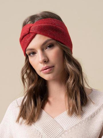Женская повязка на голову красного цвета из кашемира - фото 4