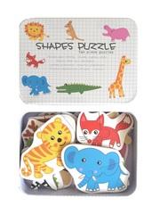 Развивающие пазлы в жестяной коробке коллекция - Животные SHAPES PUZZLE 26 деталей, 13 видов животных для детей от 3-х лет