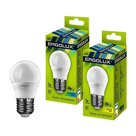 Лампа Ergolux LED-G45-7W-E27-3K шар (теплый свет)
