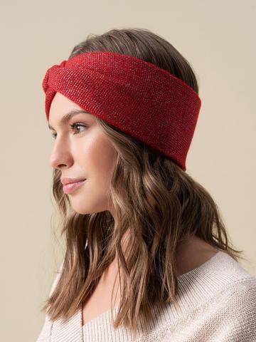 Женская повязка на голову красного цвета из кашемира - фото 2
