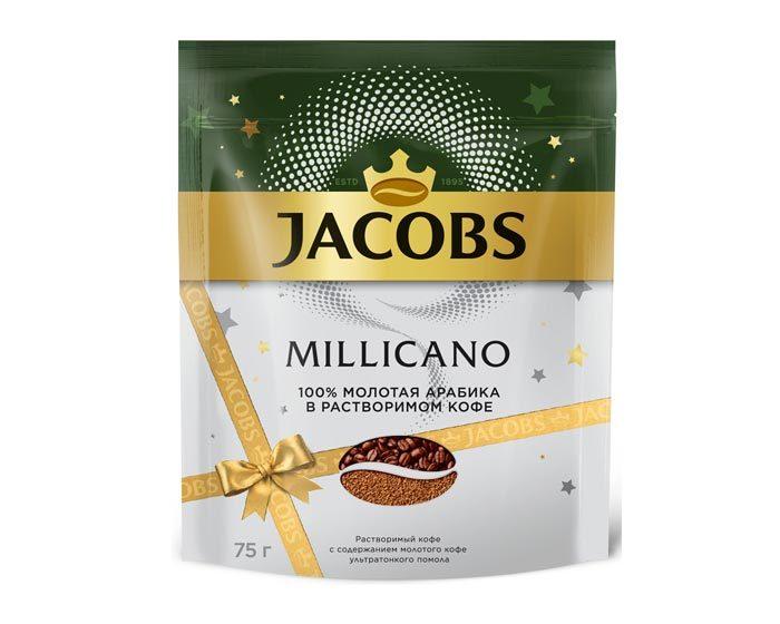 Кофе растворимый Jacobs Monarch Millicano с молотым кофе, 75 г