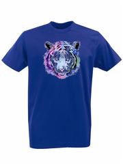 Футболка с принтом Тигр (Tiger) синяя 001