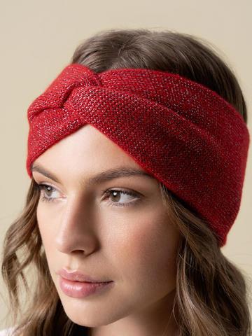 Женская повязка на голову красного цвета из кашемира - фото 5