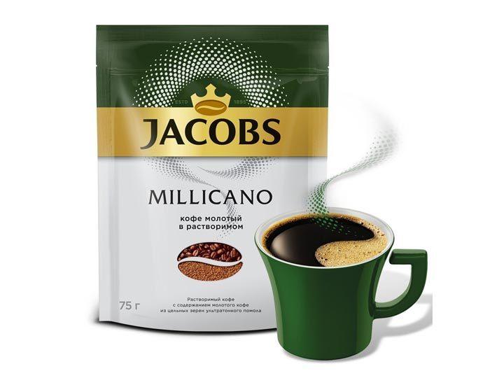 Jacobs Monarch Millicano с молотым кофе, 75 г