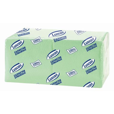 Салфетки бумажные Luscan Profi Pack 1-слойные 24х24 пастель салатовые 400 штук в упаковке
