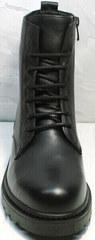 Черные женские ботинки на шнуровке весна осень Misss Roy 252-01 Black Leather.