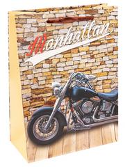 Пакет подарочный с мат. лам. Крутой мотоцикл и жёлтая стена 18х24х8.5 см (M).