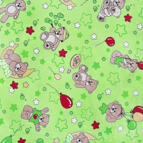 Бязь ГОСТ детская 150 см 350/2 Мишки зеленый