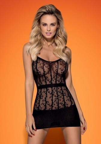 Платье-сетка полупрозрачное с кружевом D605 (Obsessive)