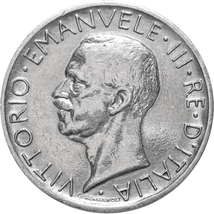 5 лир. Король Виктор Эммануил III. Италия. Серебро. 1929 г. VF-XF