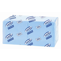 Салфетки бумажные Luscan Profi Pack 1-слойные 24х24 пастель голубые 400 штук в упаковке