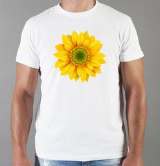 Футболка с принтом Цветы (Подсолнухи) белая 008