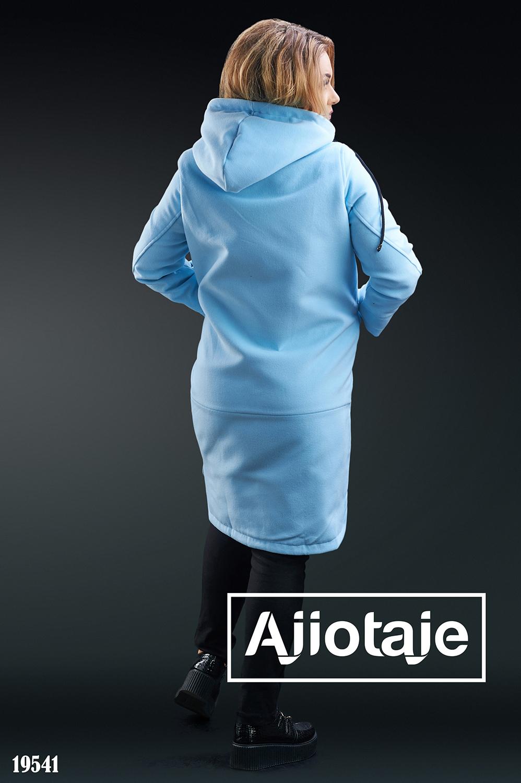 Пальто с капюшоном в стиле casual голубого цвета