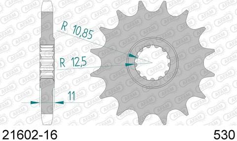 21602-16 Звезда передняя YAMAHA FZ 6 Fazer, FZX, YZF (ведущая) стальная, 530, AFAM (JTF580.16)