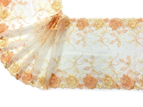 Вышивка на сетке желтая/оранжевая 22 см