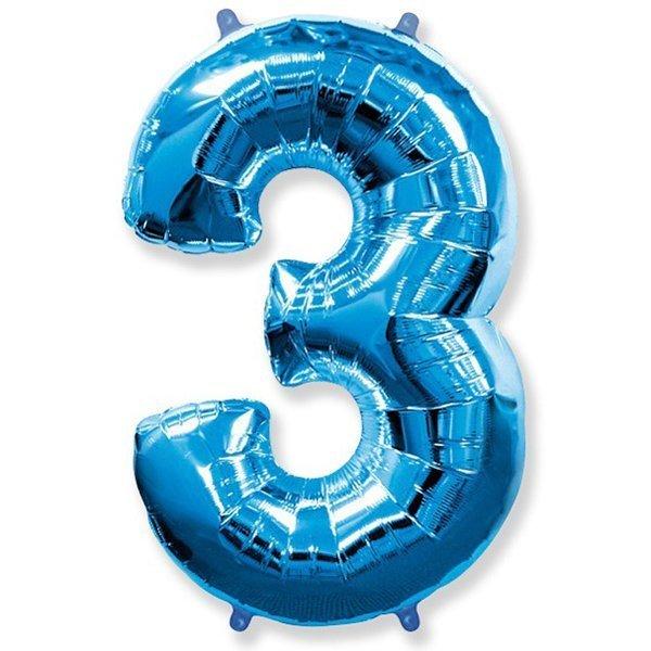 Фольгированная цифра 3, синий