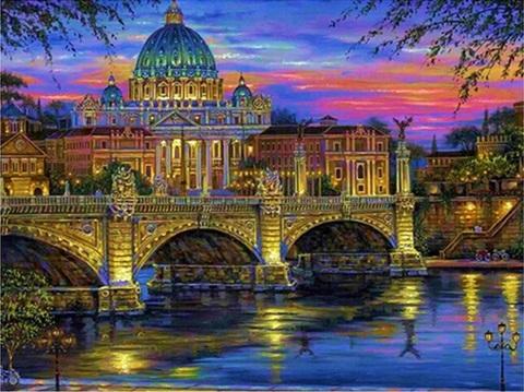 Алмазная Мозаика 40x50 Вечерний Ватикан