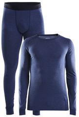 Тёплый Комплект термобелья с шерстью мериноса CRAFT Merino Wool 180 Blue мужской