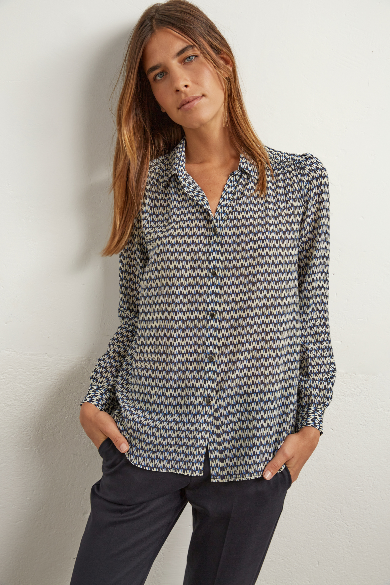ANGELICA - Рубашка из шелка с геометрическим принтом