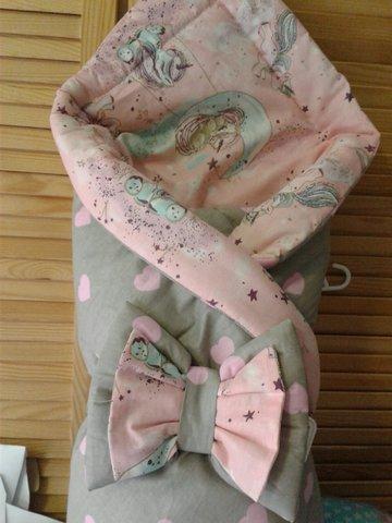 Двусторонний конверт одеяло (розовый/серый)