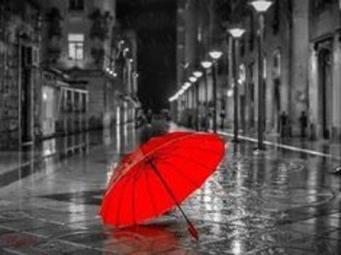 Алмазная Мозаика 40x50 Ярко красный зонт в хмурую погоду (арт. TС3410 )