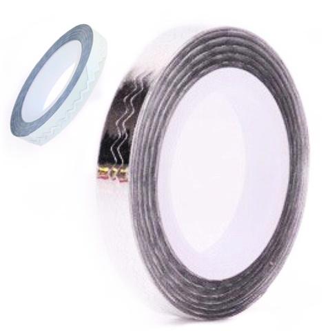 Лента зигзаг на липкой основе для дизайна ногтей серебро купить за 140руб