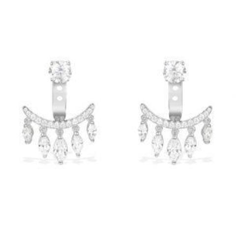 Серьги-джекеты  из серебра с цирконами  в  стиле APM MONACO