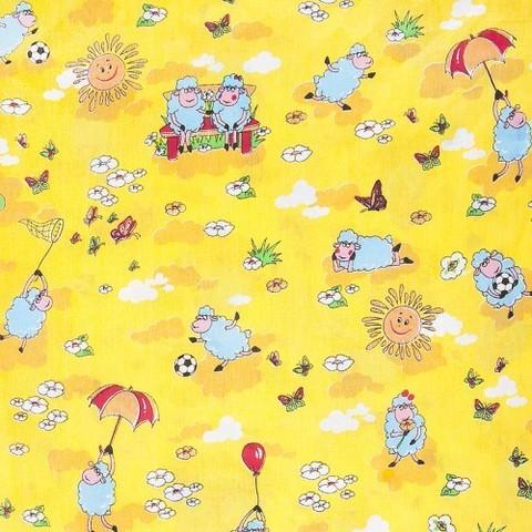 Бязь ГОСТ детская 150 см 317/4 Овечки цвет жёлтый