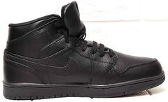 Теплые кроссовки ботинки мужские зимние кожаные Nike Air Jordan 1 Retro High Winter BV3802-945 All Black
