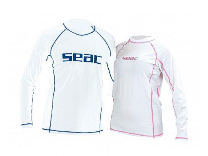 Футболка SeacSub из лайкры с длинными рукавами, белая/розовая прострочка, женская