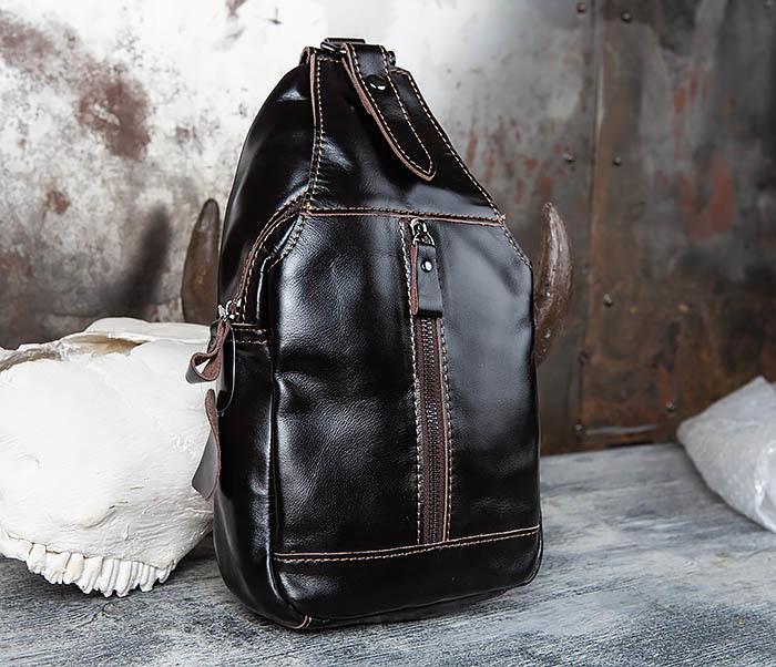 BAG449-1 Рюкзак из натуральной кожи с одной лямкой через плечо