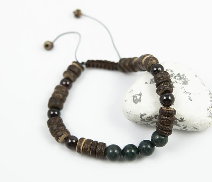 BS802 Стильный браслет из деревянных и каменных бусин