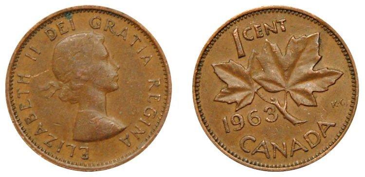 1 цент 1963 года. Канада