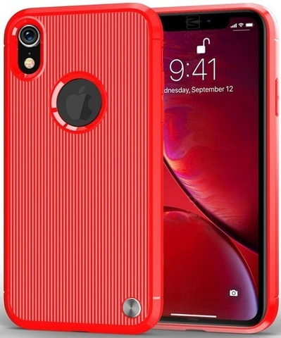 Чехол iPhone XR цвет Red (красный), серия Bevel, Caseport