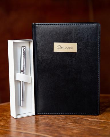 Набор с гравировкой: Ежедневник и ручка роллер Parker Urban Core Metro Metallic CT