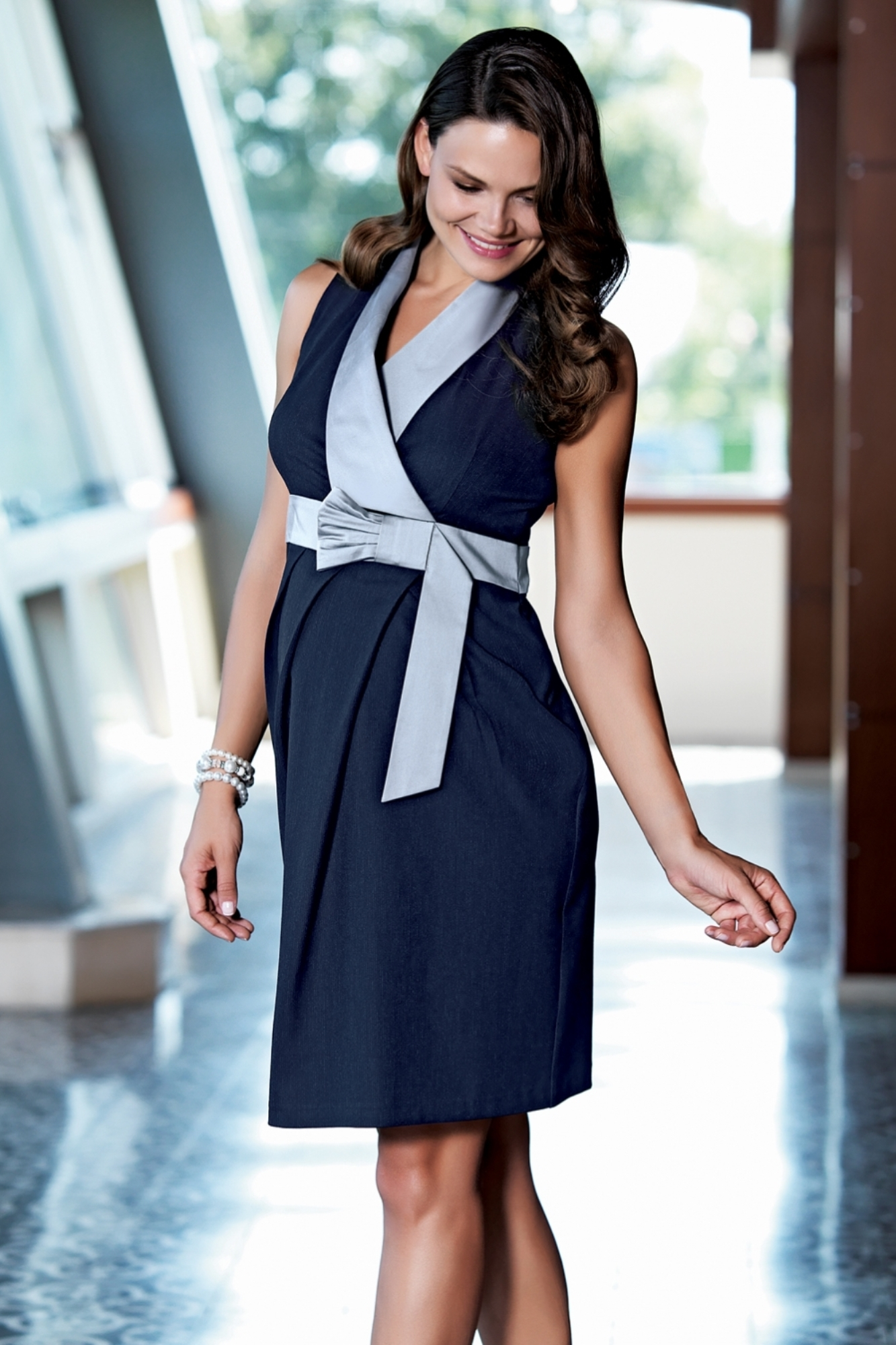 Платье для беременных 05495 синий/серый