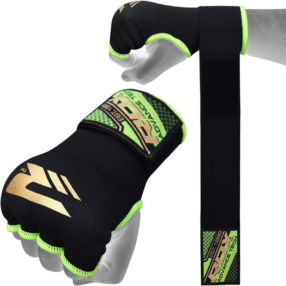 Капы и бинты Быстрые бинты RDX Inner Hand Wraps Gloves Boxing Black/Green 1.jpg