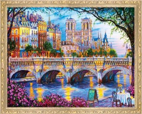 Алмазная Мозаика 40x50 Вид на другую сторону города через реку