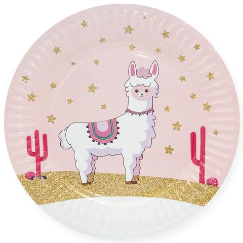 Тарелки (7''/18 см) Лама Альпака, Розовый, 6 шт.