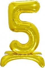 К Шар цифра (32''/81 см) , 5 на подставке, Золото, 1 шт. в упак.