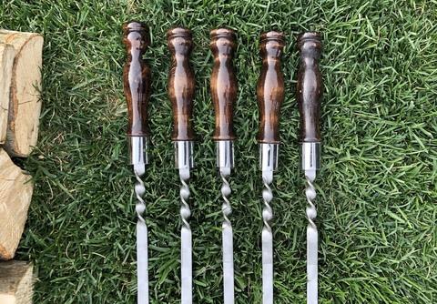 Шампур с деревянной ручкой для люля кебаб 3мм (ширина 20мм) №6