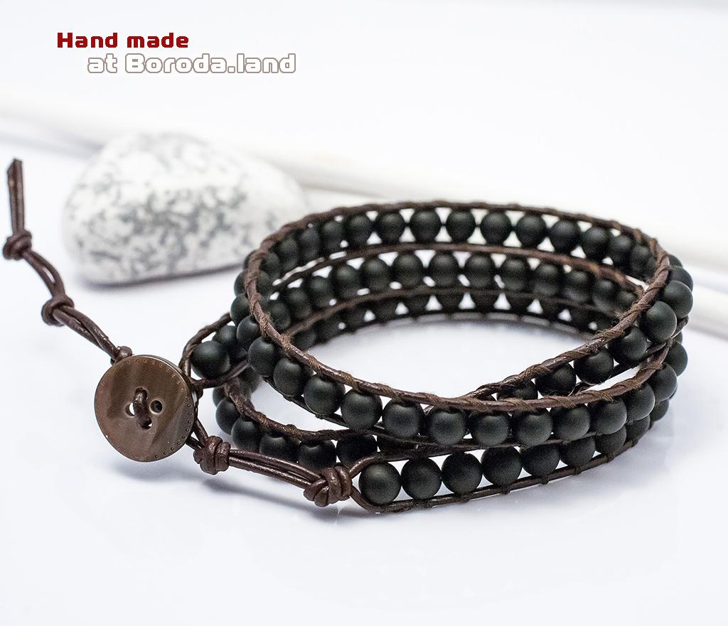 BS542-1 Мужской браслет «Чан Лу» ручной работы на кожаном шнуре, шунгит. «Boroda Design»