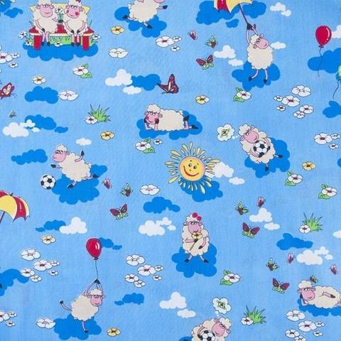 Бязь ГОСТ детская 150 см 317/1 Овечки цвет синий